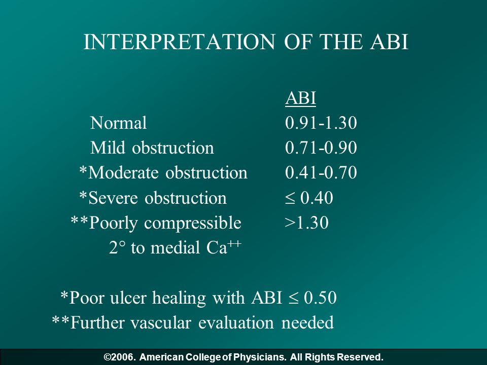 INTERPRETATION OF THE ABI