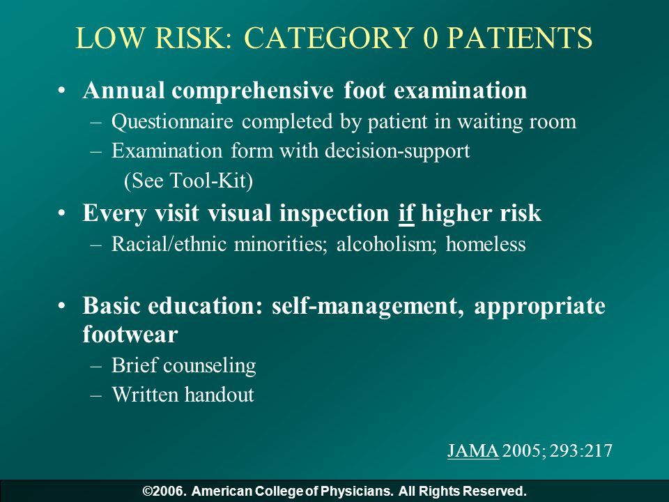 LOW RISK: CATEGORY 0 PATIENTS