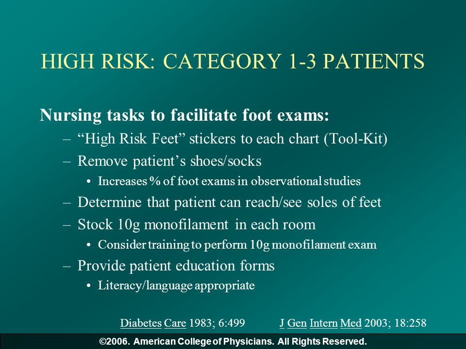 HIGH RISK: CATEGORY 1-3 PATIENTS
