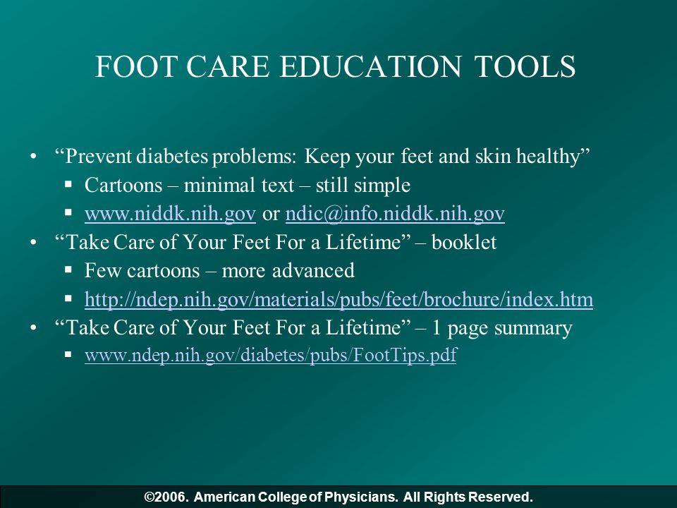 FOOT CARE EDUCATION TOOLS