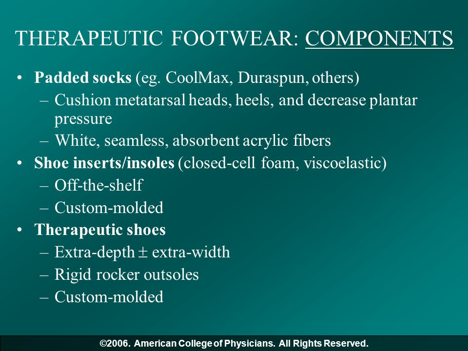 THERAPEUTIC FOOTWEAR: COMPONENTS