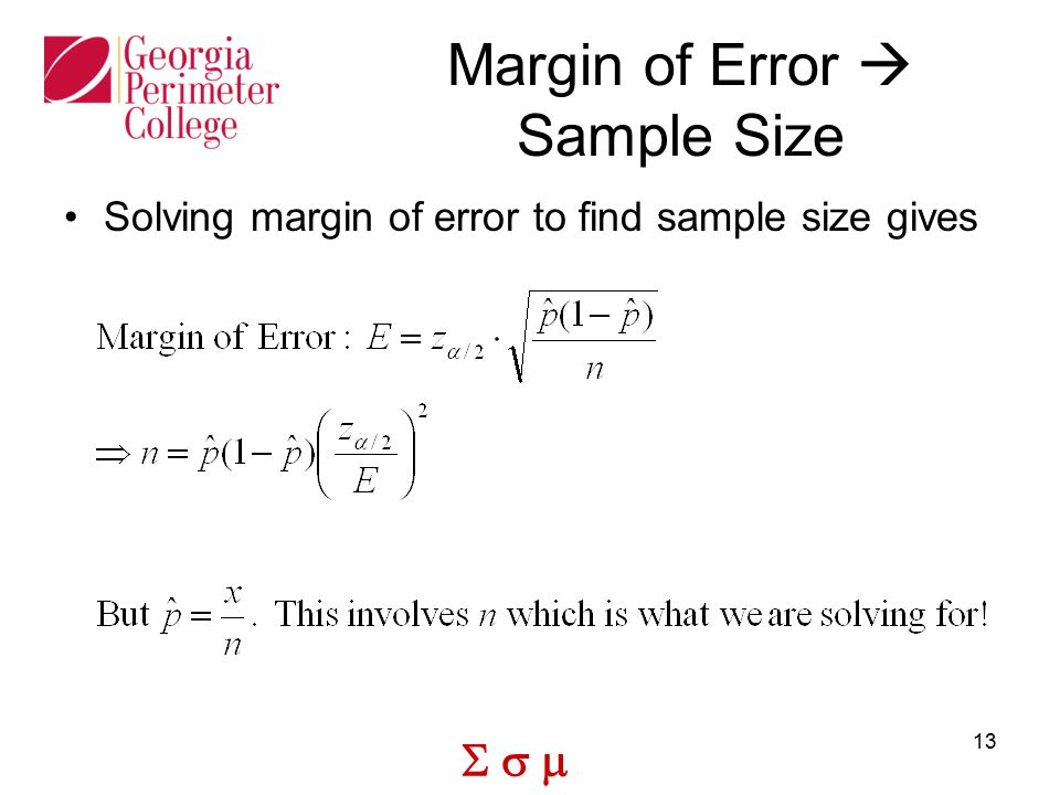 Margin of Error  Sample Size