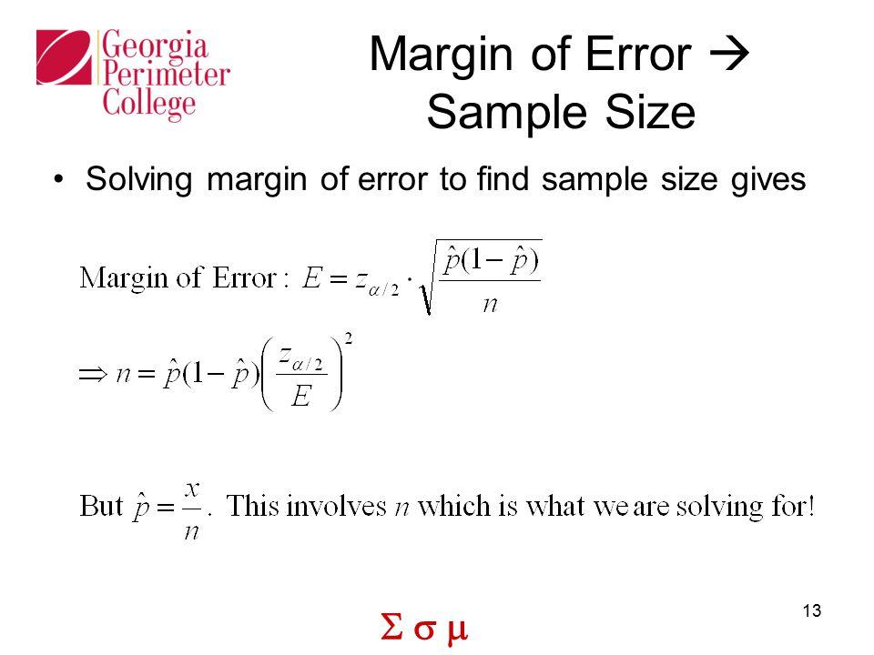 Margin of Error  Sample Size