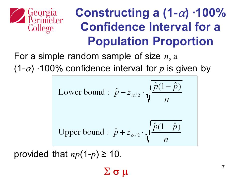 Constructing a (1-a) ·100% Confidence Interval for a Population Proportion