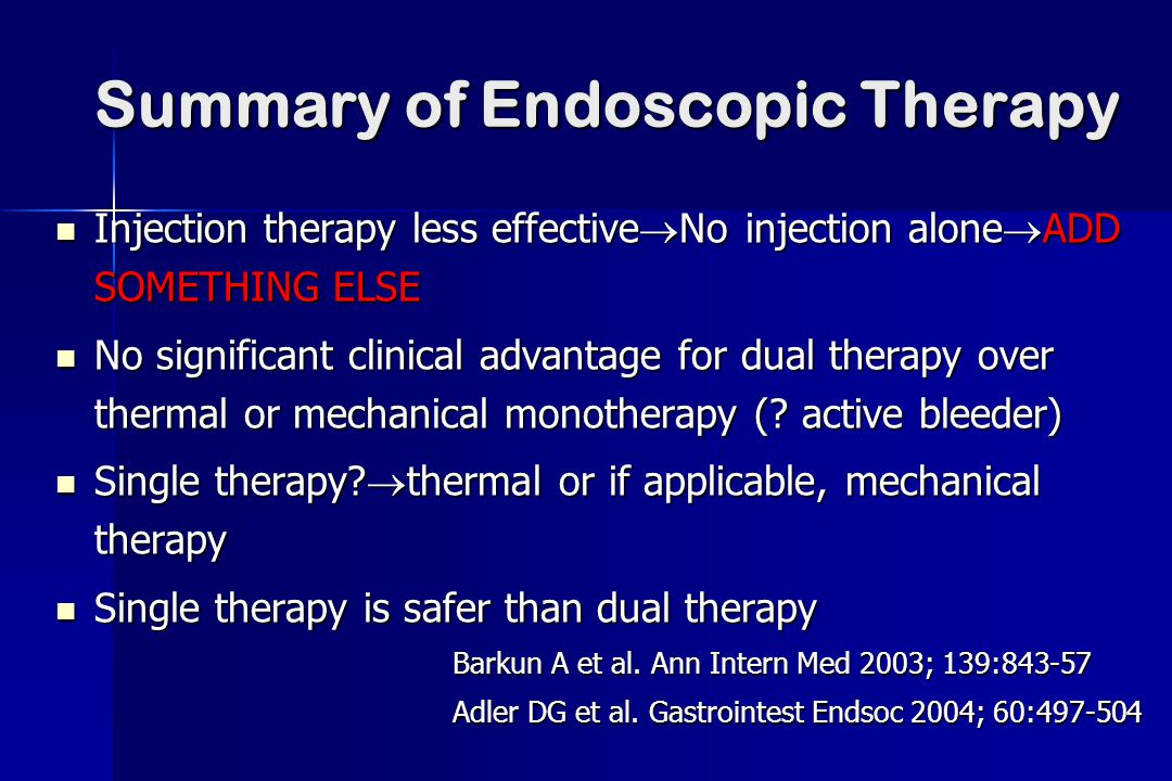 Summary of Endoscopic Therapy