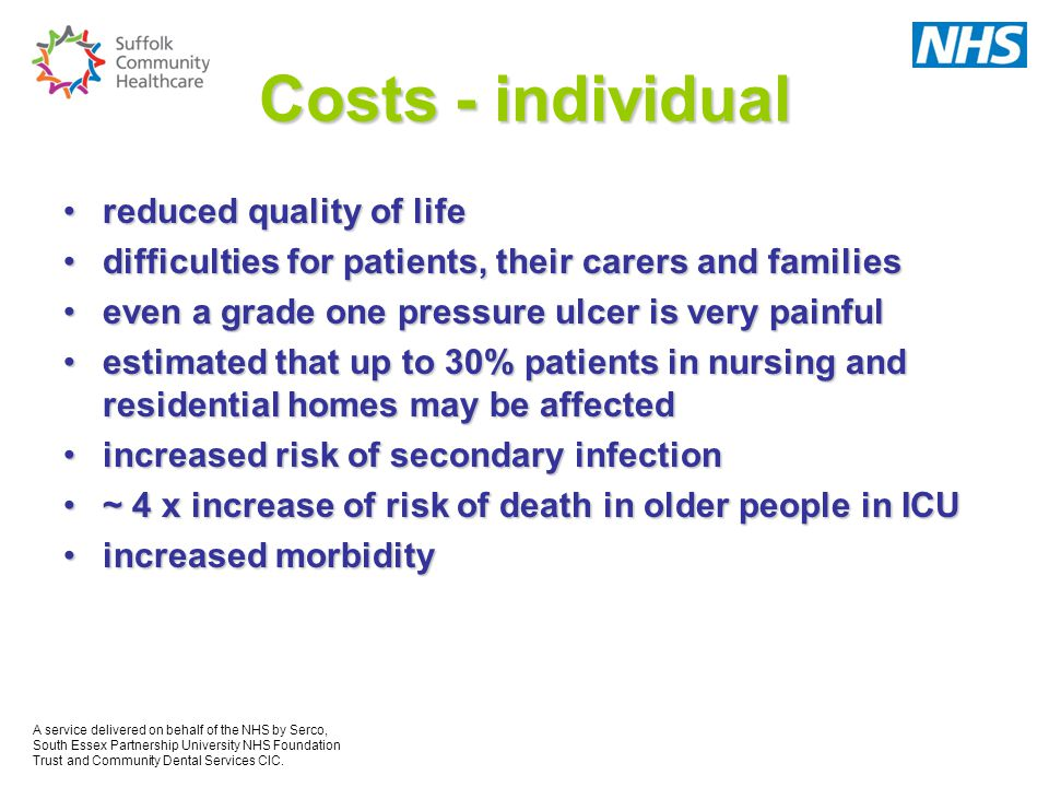 Costs - individual reduced quality of life