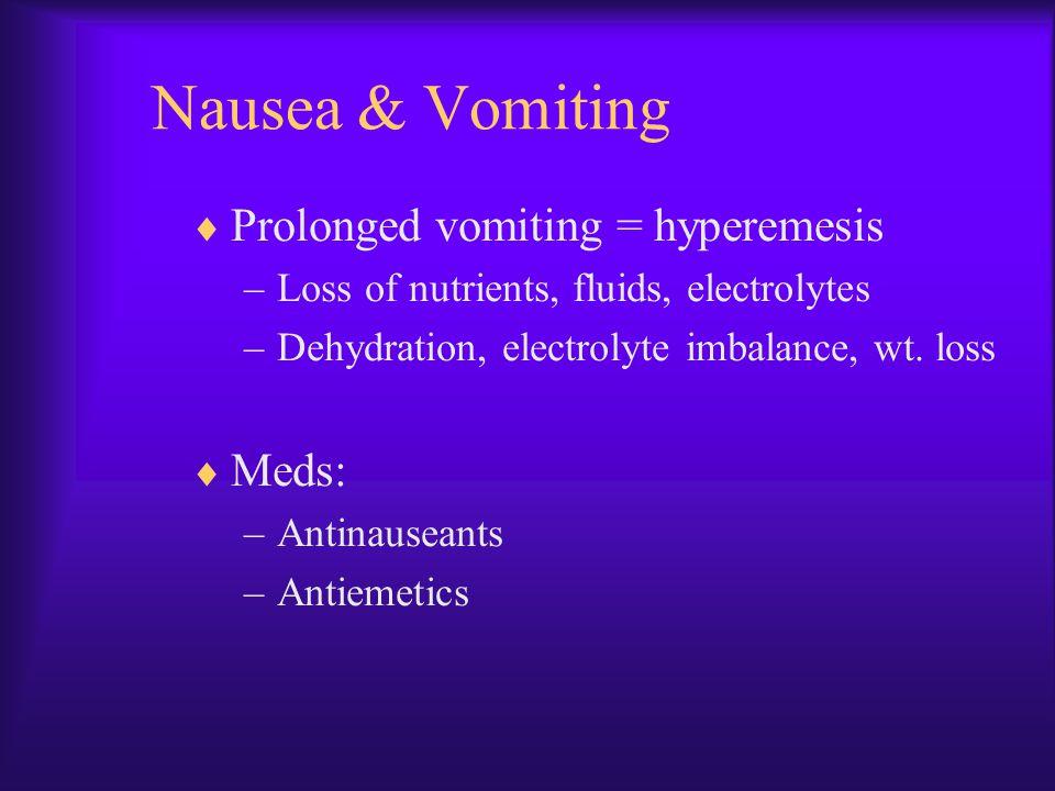 Nausea & Vomiting Prolonged vomiting = hyperemesis Meds: