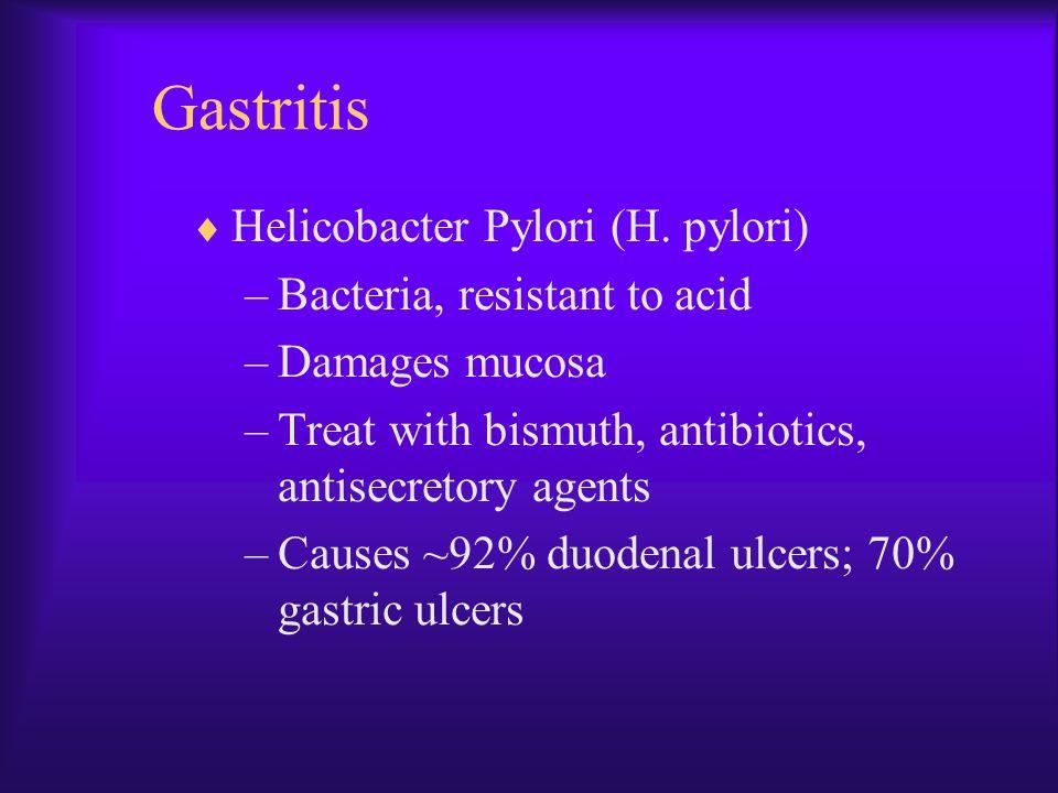 Gastritis Helicobacter Pylori (H. pylori) Bacteria, resistant to acid