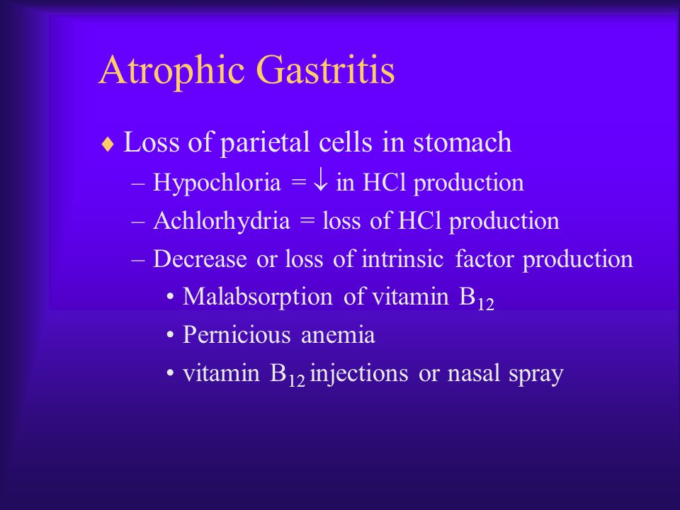 Atrophic Gastritis Loss of parietal cells in stomach