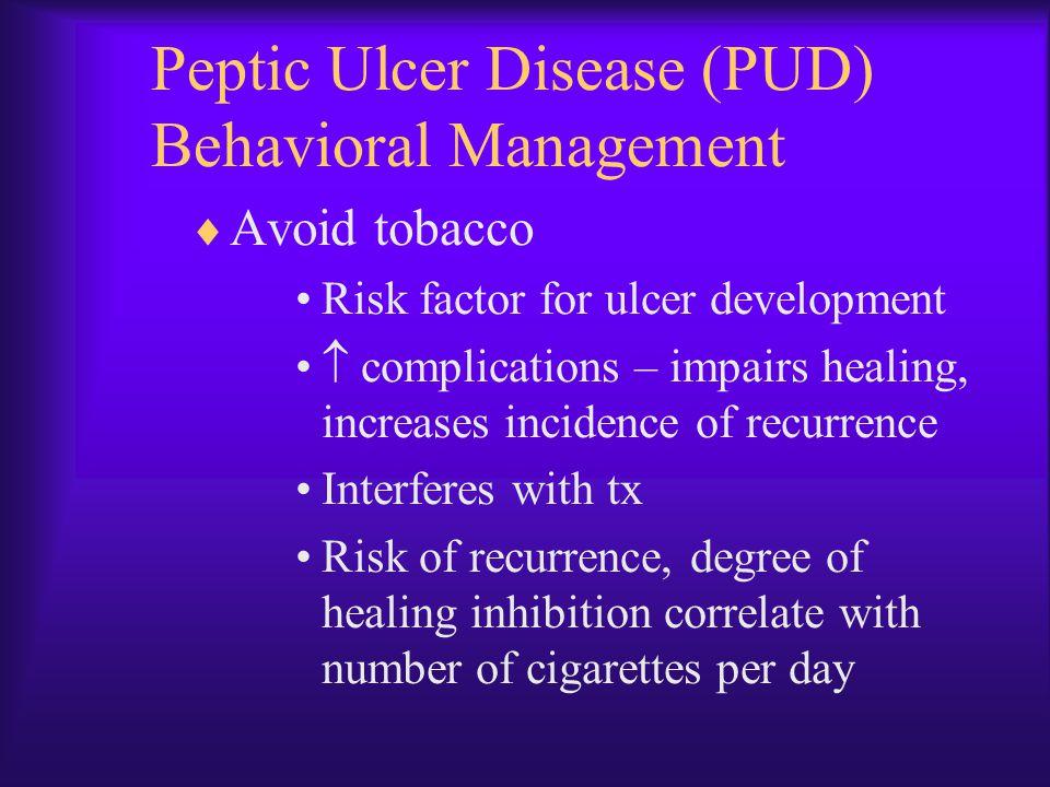 Peptic Ulcer Disease (PUD) Behavioral Management