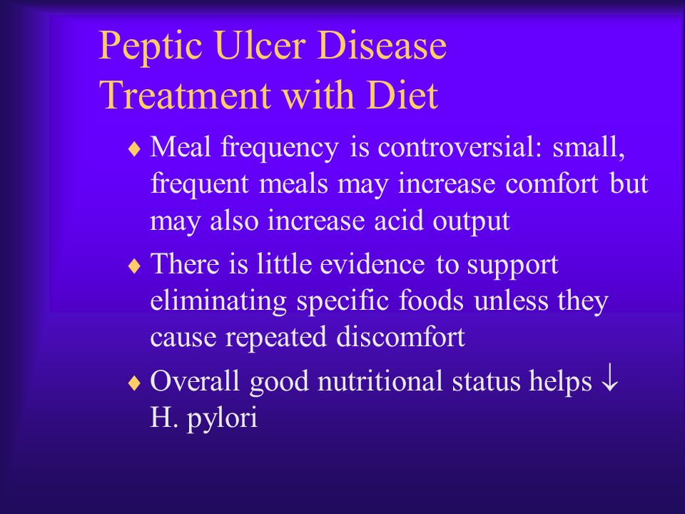 Peptic Ulcer Disease Treatment with Diet