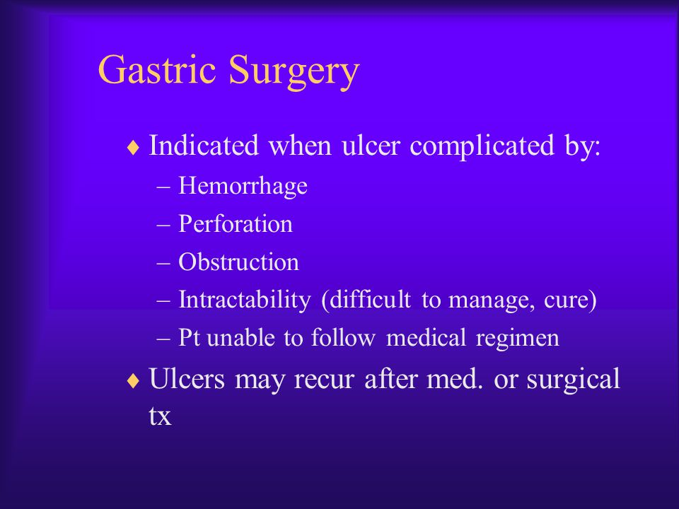 Gastric Surgery Indicated when ulcer complicated by: