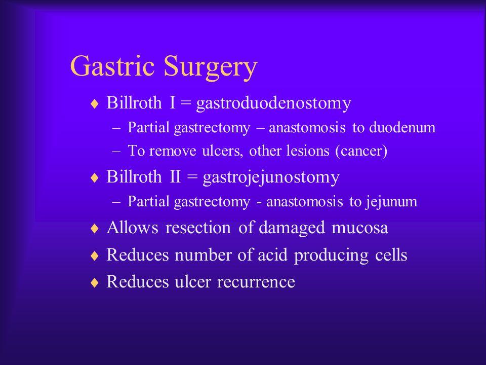 Gastric Surgery Billroth I = gastroduodenostomy