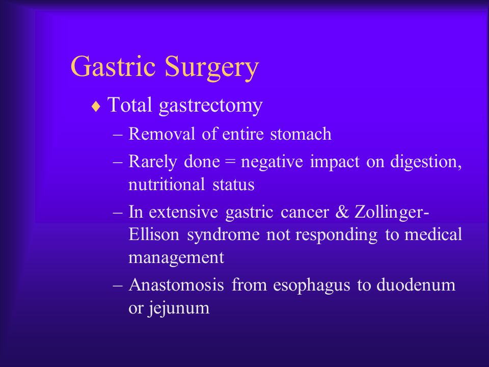 Gastric Surgery Total gastrectomy Removal of entire stomach