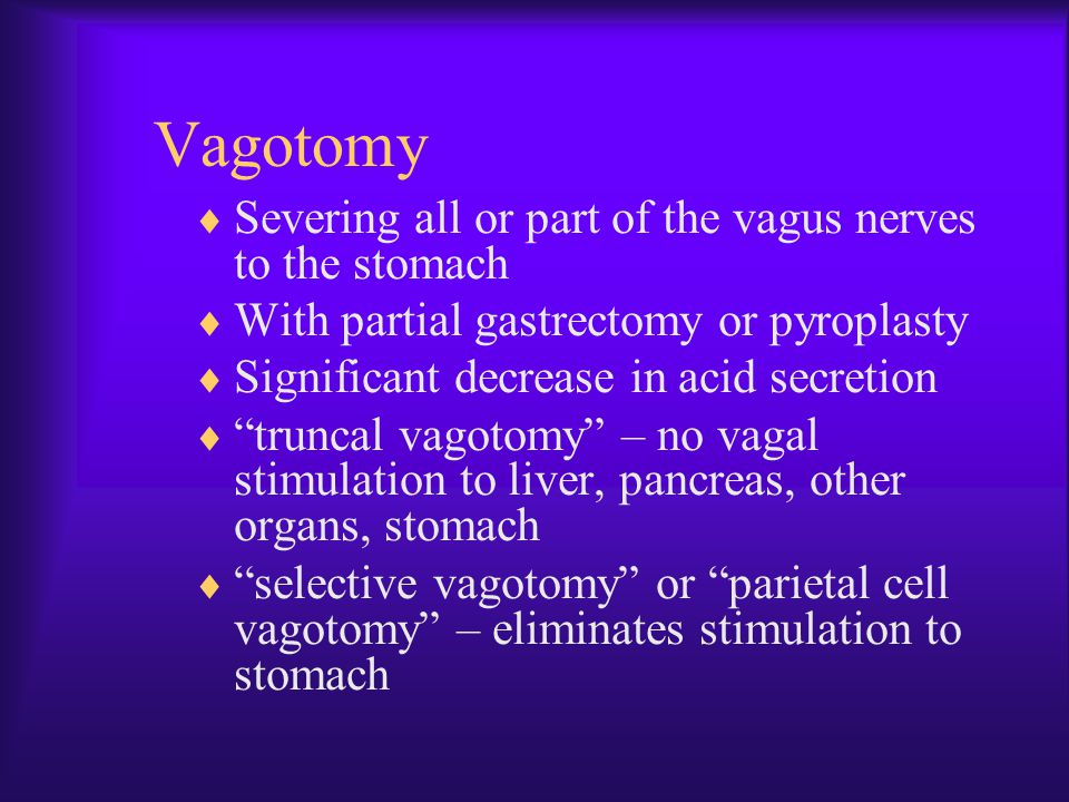 Vagotomy Severing all or part of the vagus nerves to the stomach