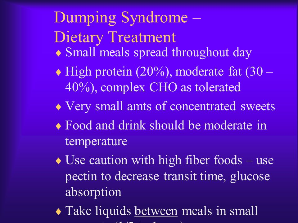 Dumping Syndrome – Dietary Treatment