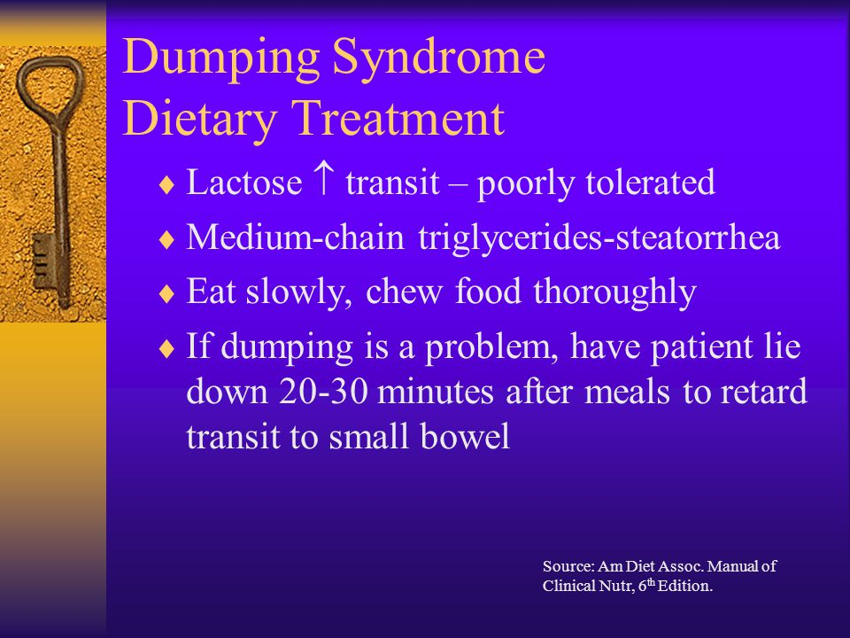 Dumping Syndrome Dietary Treatment