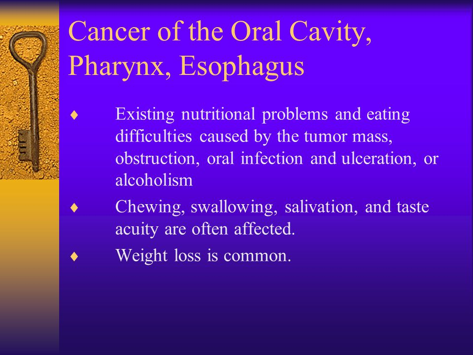Cancer of the Oral Cavity, Pharynx, Esophagus