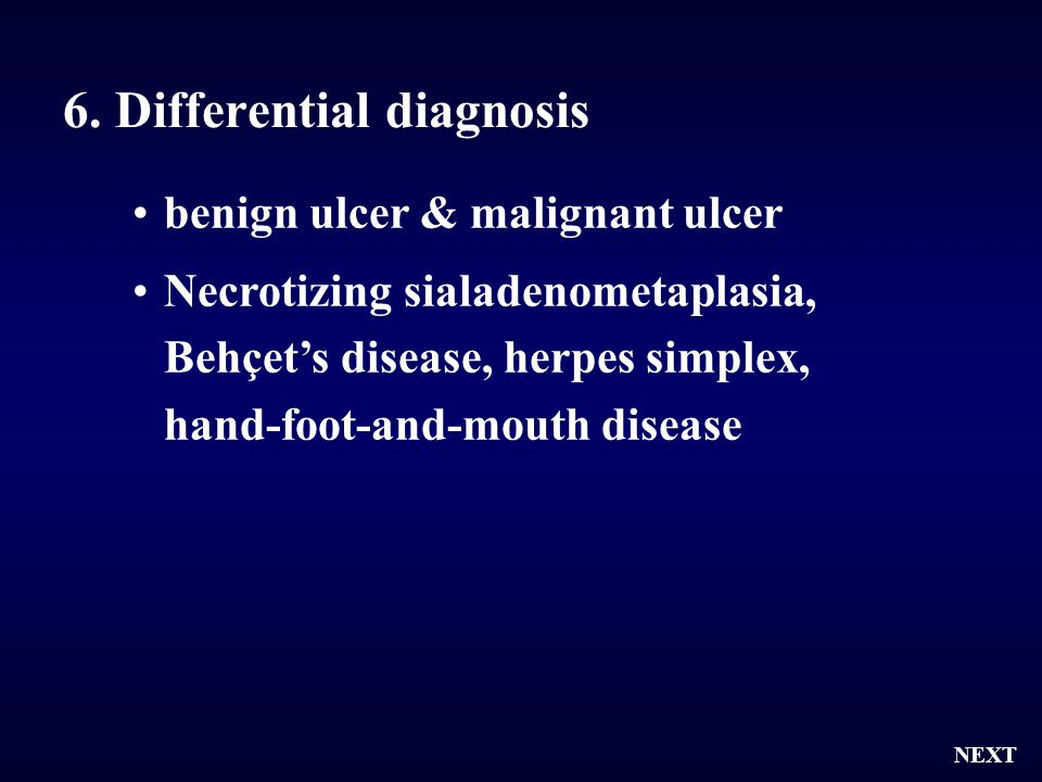 6. Differential diagnosis