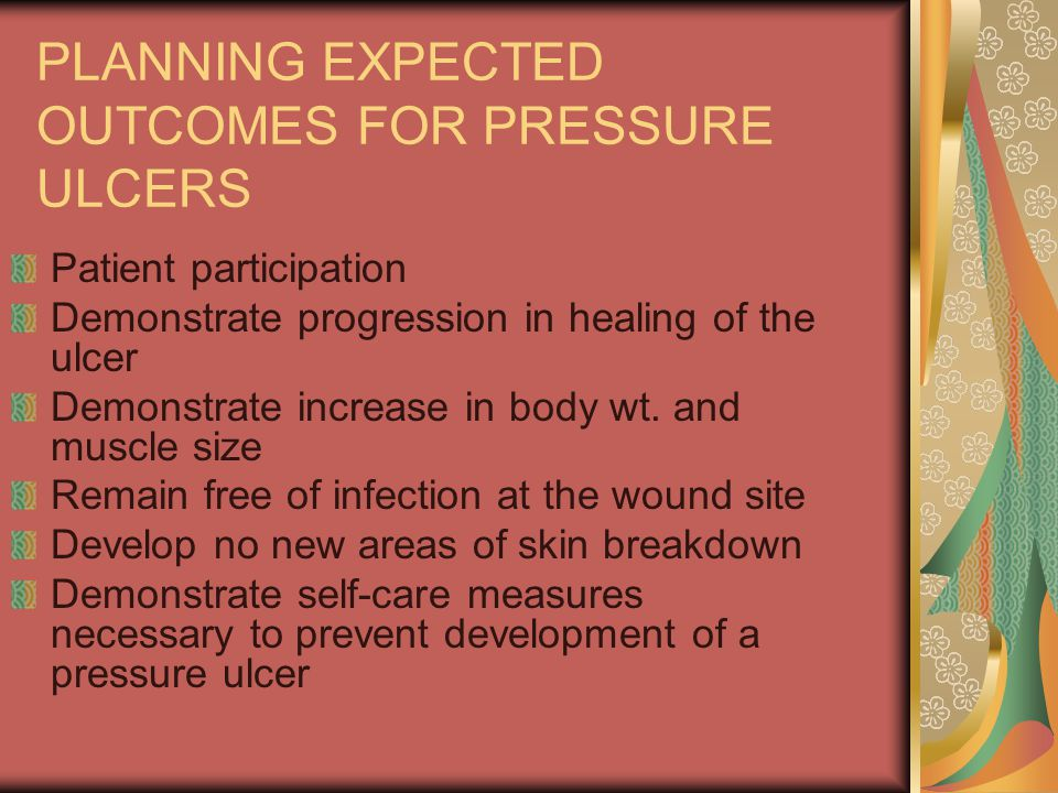 PLANNING EXPECTED OUTCOMES FOR PRESSURE ULCERS