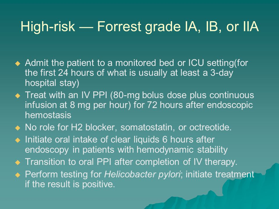 High-risk — Forrest grade IA, IB, or IIA