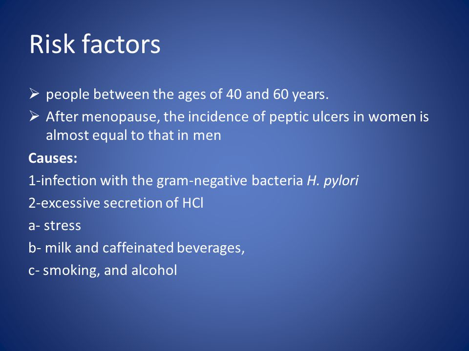Risk factors people between the ages of 40 and 60 years.