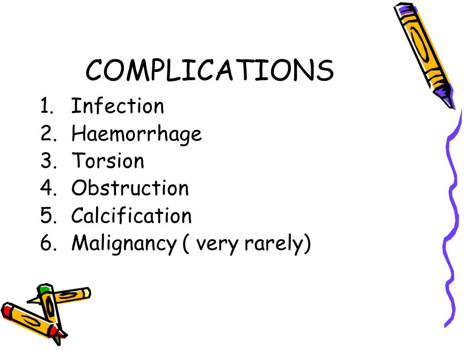 COMPLICATIONS Infection Haemorrhage Torsion Obstruction Calcification