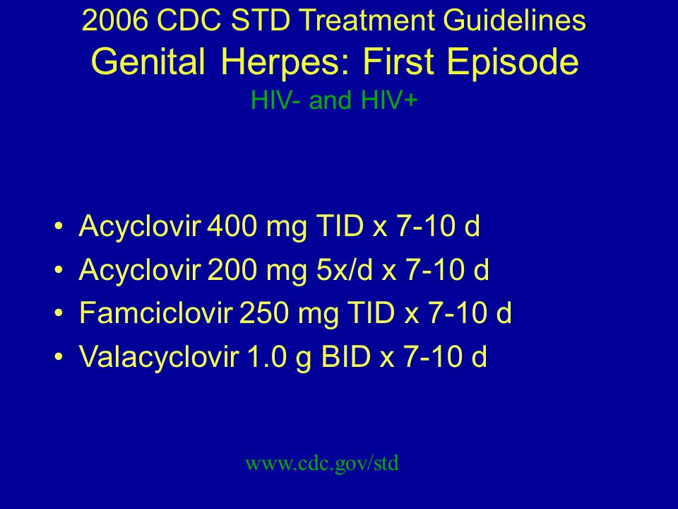 2006 CDC STD Treatment Guidelines Genital Herpes: First Episode HIV- and HIV+