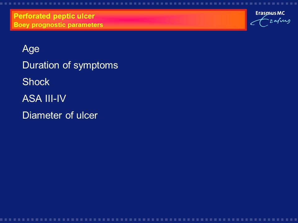 Perforated peptic ulcer Boey prognostic parameters