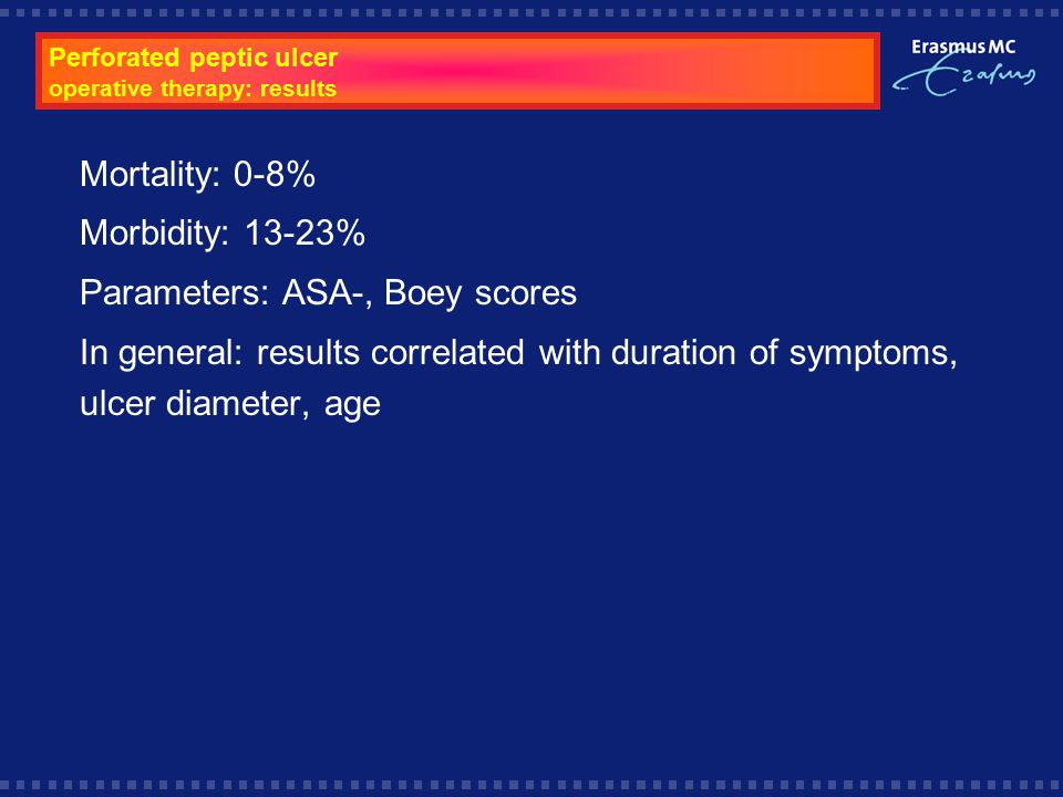 Perforated peptic ulcer operative therapy: results