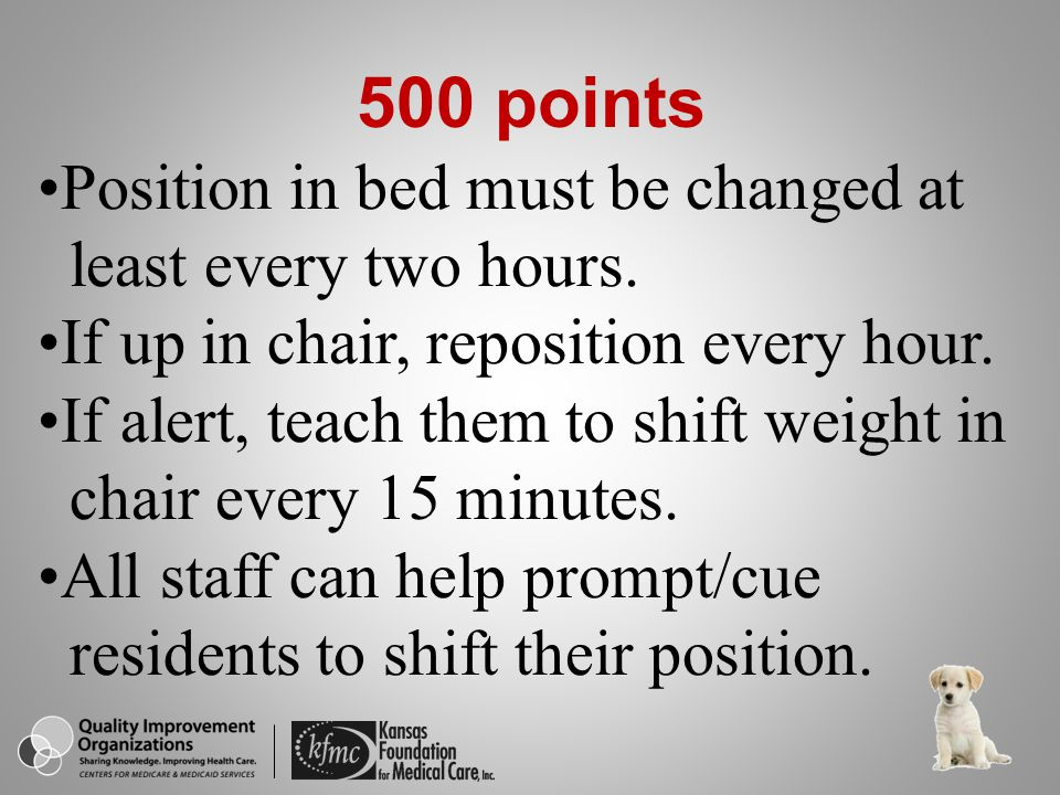 500 points Position in bed must be changed at least every two hours.