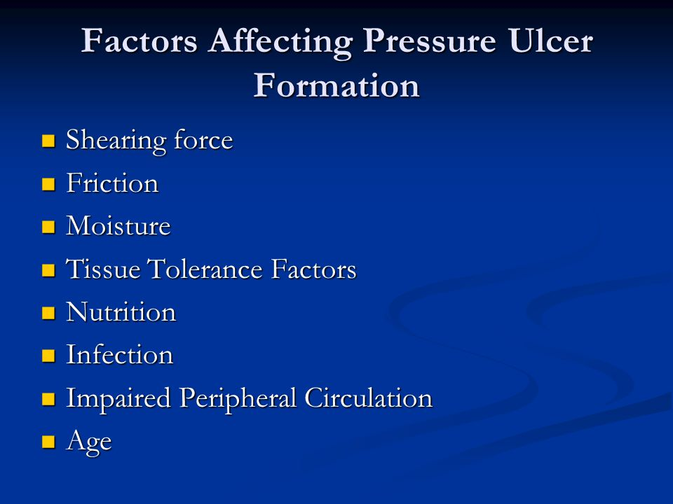 Factors Affecting Pressure Ulcer Formation