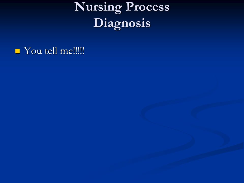 Nursing Process Diagnosis