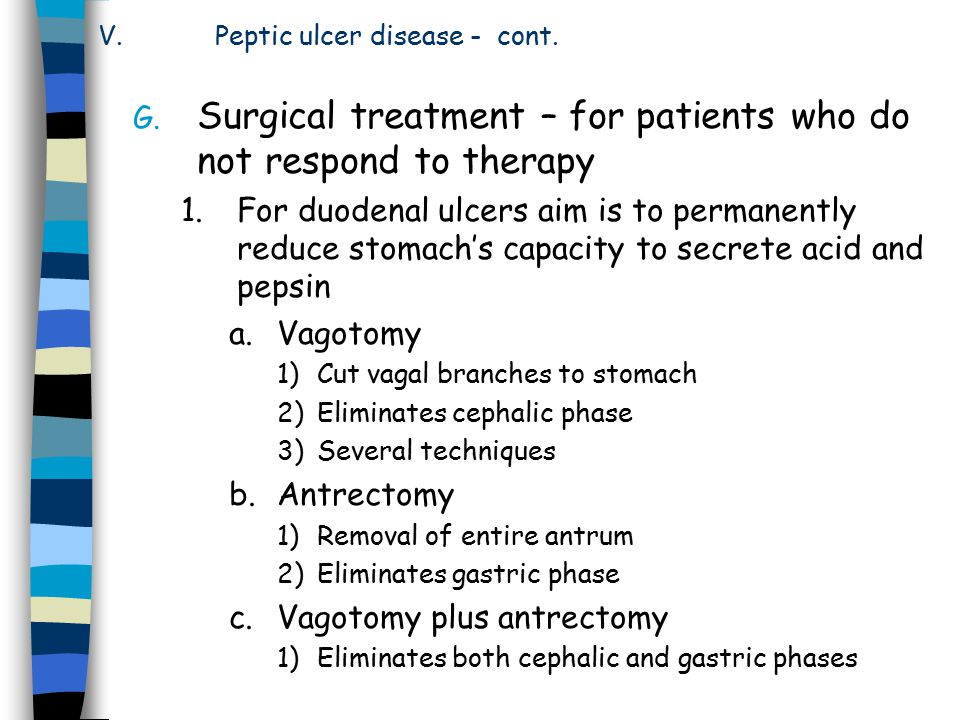 Peptic ulcer disease - cont.