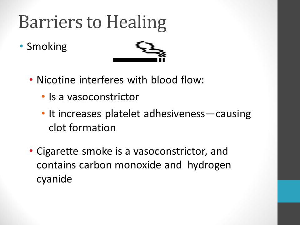 Barriers to Healing Smoking Nicotine interferes with blood flow: