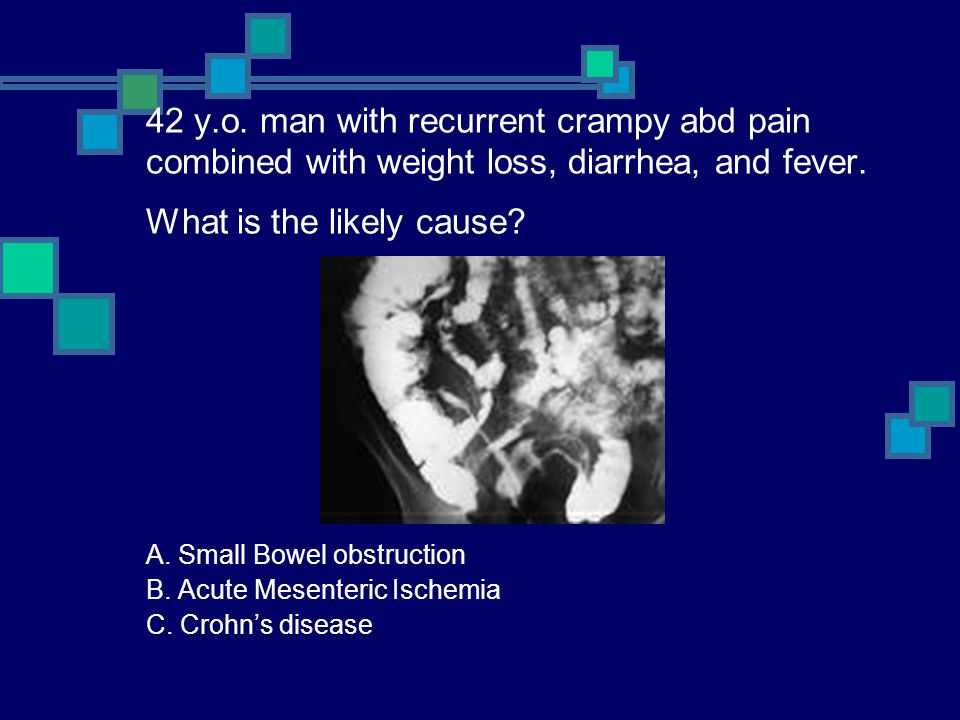42 y.o. man with recurrent crampy abd pain combined with weight loss, diarrhea, and fever. What is the likely cause