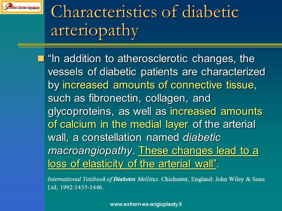 Characteristics of diabetic arteriopathy