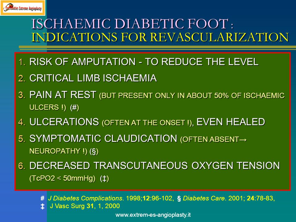 ISCHAEMIC DIABETIC FOOT : INDICATIONS FOR REVASCULARIZATION
