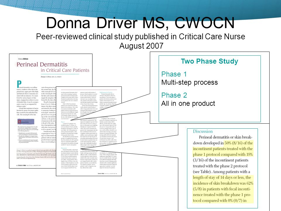 4/15/2017 Donna Driver MS, CWOCN Peer-reviewed clinical study published in Critical Care Nurse August 2007.