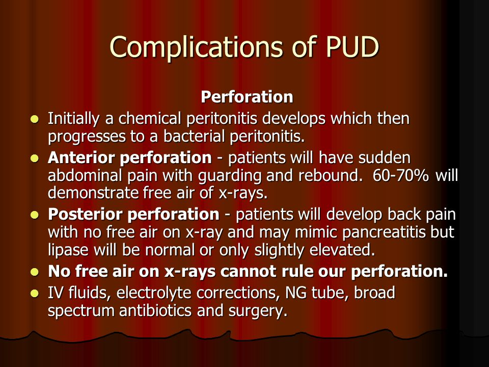Complications of PUD Perforation
