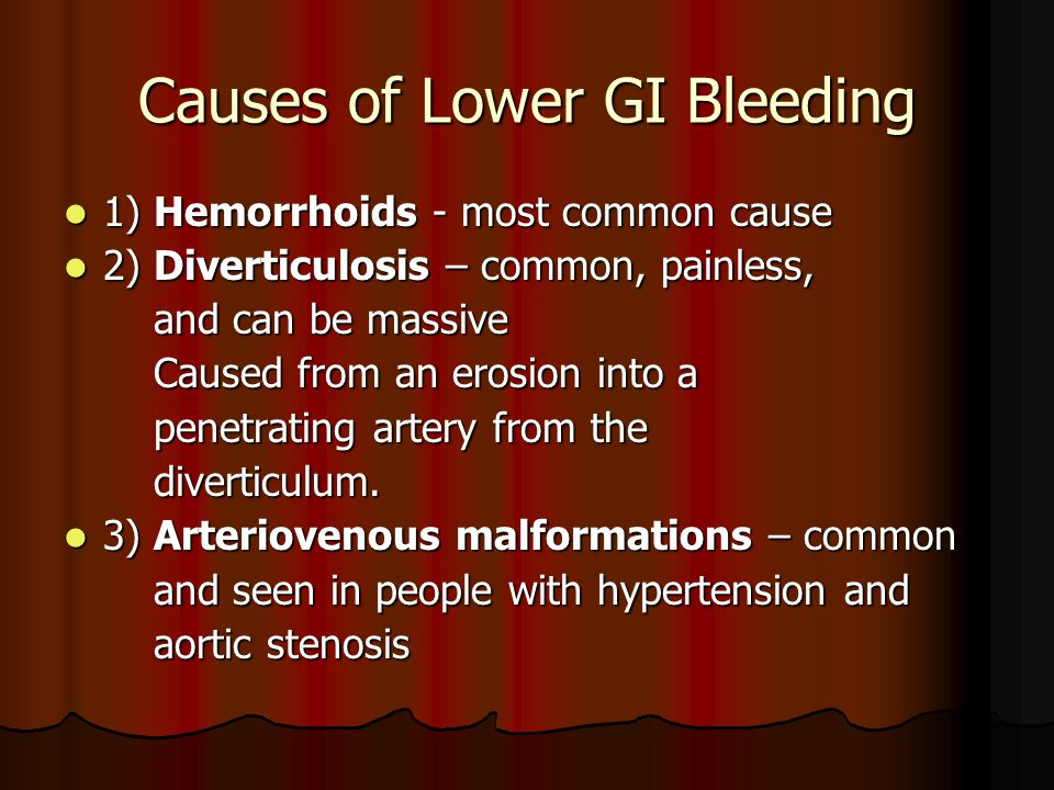 Causes of Lower GI Bleeding