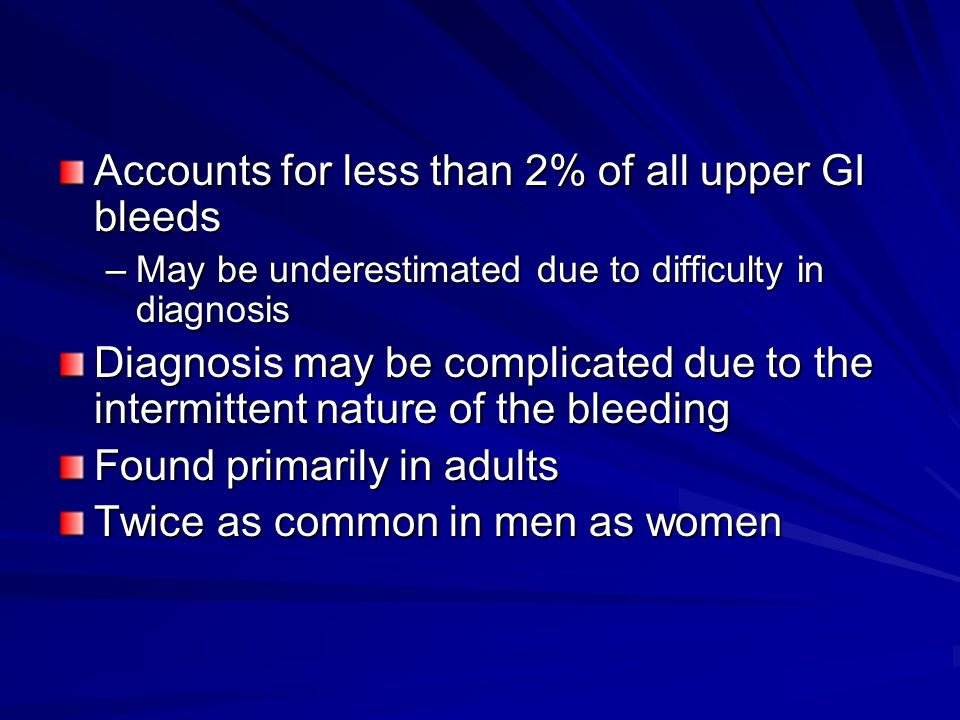 Accounts for less than 2% of all upper GI bleeds