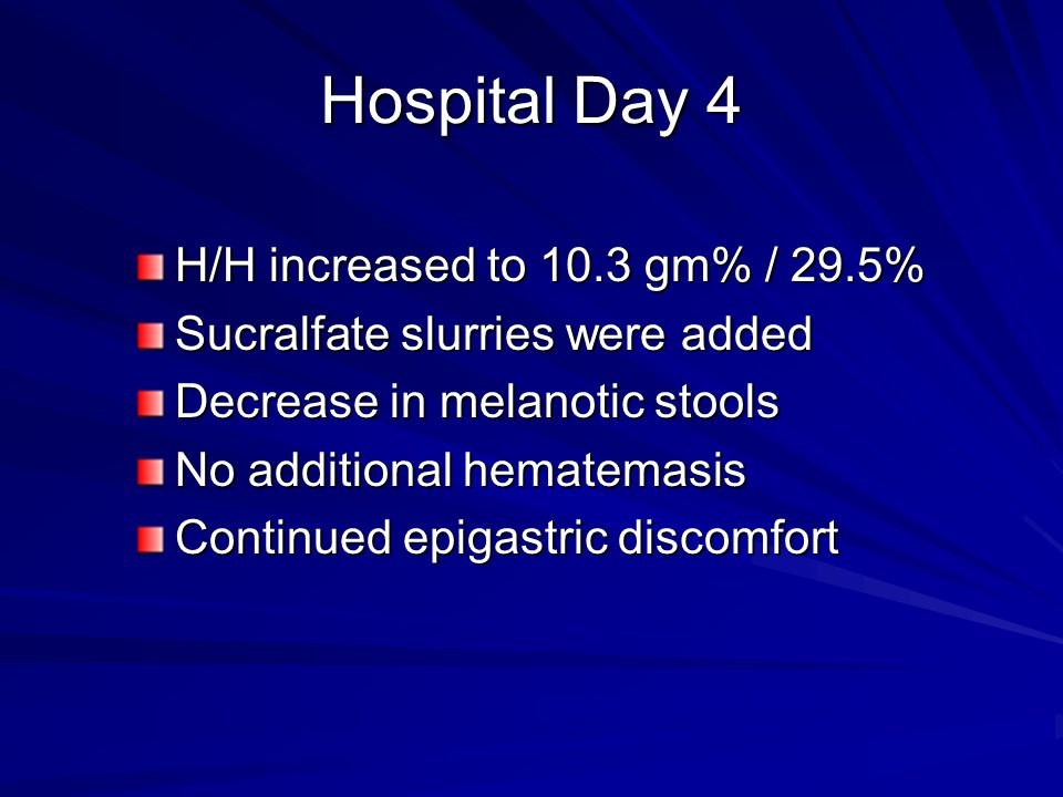 Hospital Day 4 H/H increased to 10.3 gm% / 29.5%