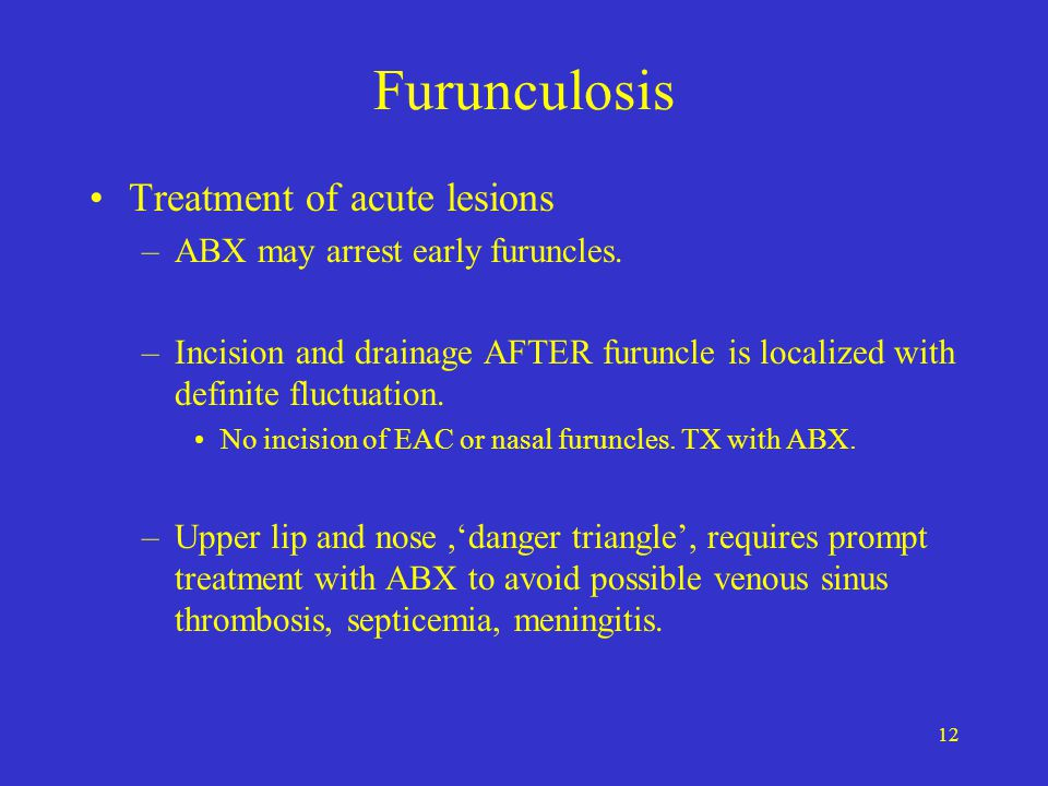 Furunculosis Treatment of acute lesions