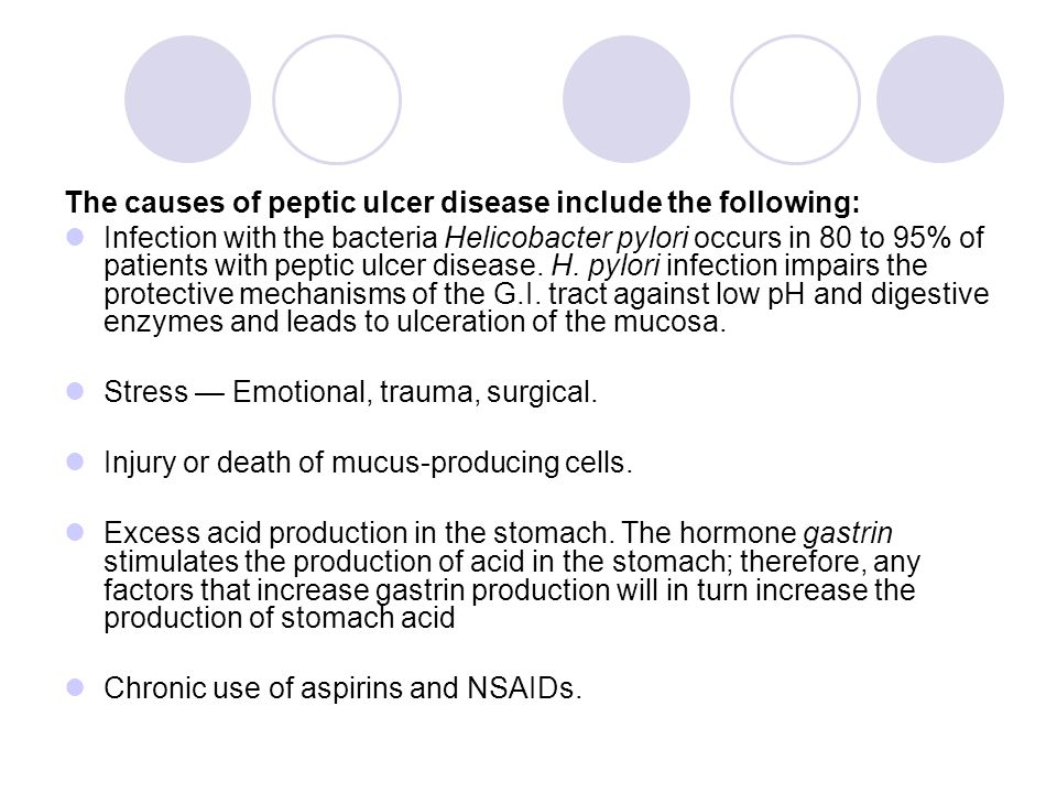 The causes of peptic ulcer disease include the following: