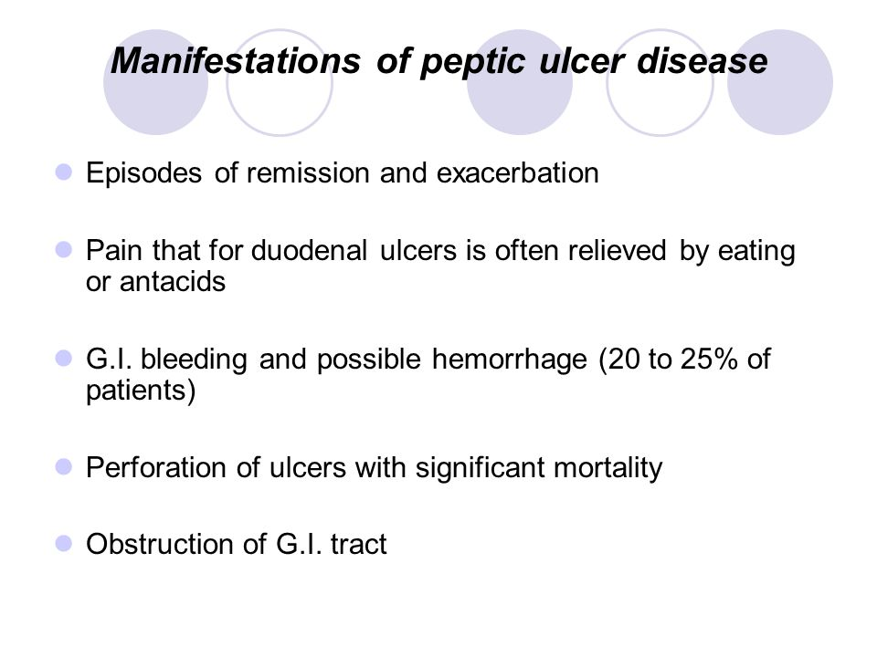 Manifestations of peptic ulcer disease