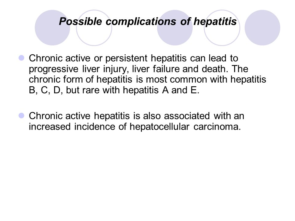 Possible complications of hepatitis