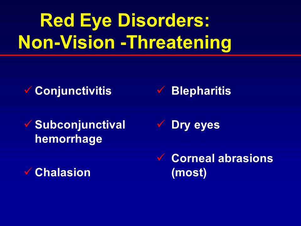 Red Eye Disorders: Non-Vision -Threatening