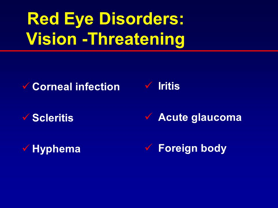 Red Eye Disorders: Vision -Threatening
