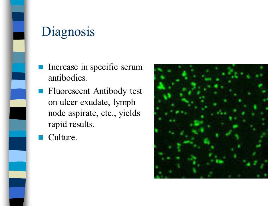 Diagnosis Increase in specific serum antibodies.